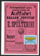 BERN GASBALLON Jupiter 1900 Luzern E. Spelterini WM Flughafen Balloon 1982 - Montgolfières