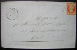 Picquigny (Somme) Pc 2430 Sur N°16  Lettre Des Filatures D' Ailly De 1856, Voir Photos ! - Marcophilie (Lettres)