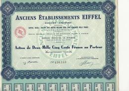 ANCIENS ETABLISSEMENTS EIFFEL -ACTION DE 2500 FRS - - Industrie