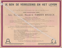 JAN CORNEEL HENDRIK VANDEN BROECK ° WEMMEL 1891 + ST. GENESIUS - RODE 1948 PASTOOR SINT-GENESIUS-PAROCHIE - Avvisi Di Necrologio