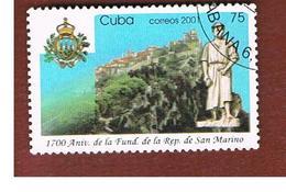 CUBA -  MI  4365  -  2001 1700^ ANNIV. FOUNDATION OF SAN MARINO      - USED - Cuba