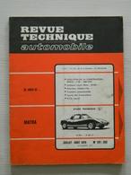 REVUE ET ETUDE TECHNIQUE AUTOMOBILE N° 291/292 - SIMCA 1100 - MATRA M 530 - FIAT - 1970 - Auto