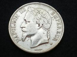 FRANCE 5 FRANCS  NAPOLEON III  TETE LAUREE ARGENT  1869 BB   (  Plbleu2/8  ) - France