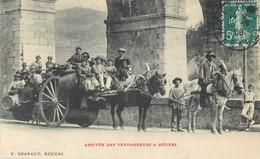 BEZIERS ARRIVEE DES VENDANGEURS ATTELAGE CHEVAL 34 - Beziers