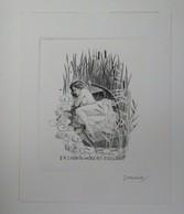 Ex-libris Illustré XXème - Femme Nue Sur Une Barque - Albert COLLART Par SEVERIN - Bookplates