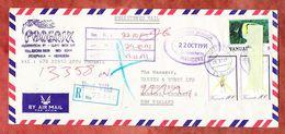 Einschreiben Reco, MiF Orchidee U.a., Port Vila Nach Mangere, Zurueck 1991 (57754) - Vanuatu (1980-...)