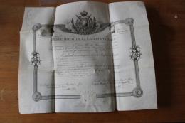 Diplome Legion D'Honneur Sur Velin Aux Armes De France  Fleurs De Lys 1817 - Documenti Storici