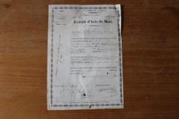 Extrait D'acte De Mort 32 Eme De Ligne  Tué Devant Sébastopol - Documenti Storici