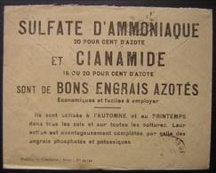 Publicité Pour Le Sulfate D'amoniaque (engrais) Au Revers D'une Lettre Du Service De Pub De La Société Des Agriculteurs - Postmark Collection (Covers)