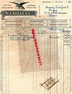 49 - ANGERS- FACTURE M. LAIGLE- AIGLE- FONDERIE CUIVRE BRONZE ALUMIMIUM- ROBINETTERIE- 1923 - Textile & Vestimentaire