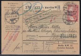 DR Paketkarte Für 2 Pakete Mif Minr.5x 83I,91I,94AI Berlin 18.6.07 Gel. In Schweiz - Briefe U. Dokumente