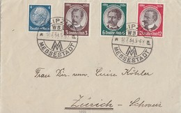 DR Brief Mif Minr.483,540,541,542 Leipzig 17.7.34 Gel. In Schweiz - Deutschland