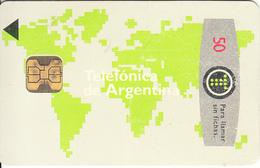 ARGENTINA - World Map, Telefonica Telecard Fourth Issue 50 Units(matt), Chip F2, 06/93, Used - Argentina