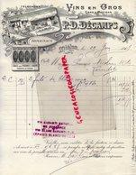32 - MIELAN - FACTURE P.D. DECAMPS-VINS EN GROS GERS ET MADIRAN- ARMAGNAC -CHAIS ET FOUDRES CIMENT 1909 - Alimentare