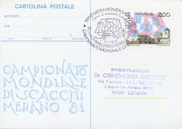 Italia 1981 FDC Intero Postale Cartolina 200 Lire Campionato Mondiale Di Scacchi A Merano Viaggiata Chess Echecs Ajedrez - Scacchi