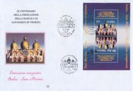 Italia San Marino 1994 Emissione Congiunta Su Foglietto FDC FILAGRANO 900° Dedicazione Basilica Di San Marco A Venezia - Chiese E Cattedrali
