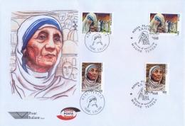 Italia Albania 1998 Emissione Congiunta FDC Poste Italiane Madre Teresa Di Calcutta Busta Grande Joint Issue - Mother Teresa