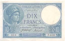 .BILLET.18- : 10 F MINERVE  H.18=9=1917.H - 1871-1952 Anciens Francs Circulés Au XXème