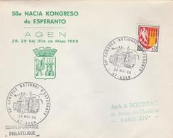 LSC 1966 -  AGEN  - Cachet Congrès National D' ESPERANTO - AGEN - Esperanto