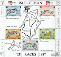 United Kingdom - Island Man Block9 (complete Issue) Unmounted Mint / Never Hinged 1987 Tourist-trophy-Motorcycle Racing - Man (Ile De)