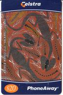 "AUSTRALIA - Anrdrew Margululu:""Nalkangi"" Lizard(00138), Telstra Prepaid Card $20, Tirage 45000, Exp.date 04/01, Used - Australia"