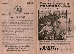 Carte Fédération Des Mineurs Et Ouvriers Industries Extractives 1942 - Collections