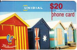 AUSTRALIA - Brighton Beach Cabins/Melbourne, Unidial Prepaid Card $20, Exp.date 30/06/00, Used - Australia