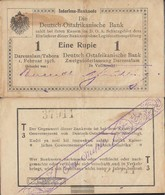 German-Eastern Africa Rosenbg: 929u Series: T3 Used (III) 1916 1 Rupie - Deutsch-Ostafrikanische Bank
