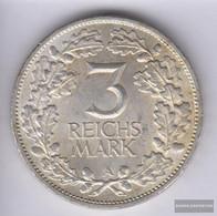 German Empire Jägernr: 321 1925 A Extremely Fine Silver Extremely Fine 1925 3 Reichsmark 1000 Years Rheinlande - 3 Mark & 3 Reichsmark