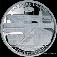 FRD (FR.Germany) Jägernr: 491 2002 D Stgl./unzirkuliert Silver Stgl./unzirkuliert 2002 10 Euro 100 Years Untergrundbahn - Germany