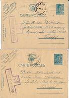 1943 Romania 2 X Censor Postcard To TIRASPOL Transnistria - 2. Weltkrieg (Briefe)