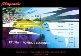 AMERICA. CUBA MINT. 2018 FAUNA & FONDOS MARINOS. PECES. HOJA BLOQUE - Cuba