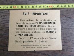 FLYERS ENCART PUBLICITAIRE EXPOSITION PARIS 1900 - Collections