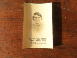 SOUVENIR PIEUX / Mlle  CLAIRE WERGIFOSSE  / LIEGE 1931 1936 - Avvisi Di Necrologio