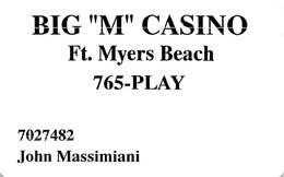 Big 'M' Casino Cruise Ship - Fort Myers Beach FL - Player Rewards /Slot Card - Casino Cards