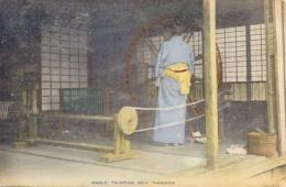 Japan Picture Postcard Haeld Twisting Silk Threads Posted 1930 - Artigianato