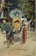 Japan Picture Postcard Rickshaws - Ambulanti