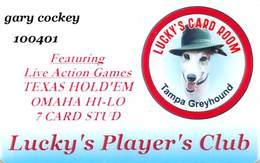 Tampa Greyhound Lucky's Card Room - Tampa Bay FL - Racing / Casino Slot Card - Casino Cards