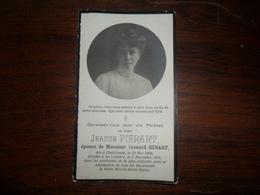 SOUVENIR PIEUX / Mme JEANNE PIERART CHATELINEAU 1889 LA LOUVIERE 1918 - Avvisi Di Necrologio