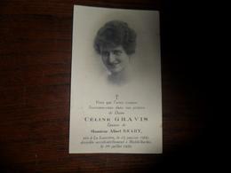 SOUVENIR PIEUX / Mme CELINE GRAVIS  LA LOUVIERE 1900  MIDDELKERKE 1926 - Avvisi Di Necrologio