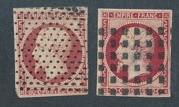 CF-132: FRANCE: Lot Avec N°17Aobl Pointillé-17Al Obl Gros Points  (2ème Choix, Amincis) - 1853-1860 Napoléon III