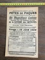 FLYERS ENCART PUBLICITAIRE LOTERIE DES ARTISTES FETES DE PAQUES 1909 - Collections