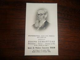 """SOUVENIR PIEUX / Mr J. DEMARTEAU  ADM. DE """" LA GAZETTE DE LIEGE"""" / LIEGE 1886 PAIFVE  1959 - Avvisi Di Necrologio"""