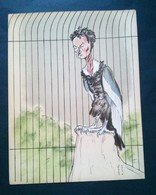 Caricature Lithographie Georges Bastia, Le Zoo Des Vedettes, Jean Louis Barrault En Oiseau De Proie - Lithographies