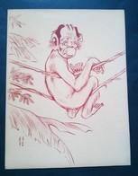 Caricature,lithographie Georges Bastia, Le Zoo Des Vedettes, Pierre Larquey En Singe - Lithographies