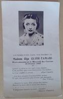MADAME  OLGA  OLIVE  TAMARI   MORTE  PIEUSEMENT LE MERCRDI  DES  CENDRES  19 FEVRIER  1947 - Décès