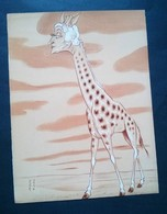 Caricature,lithographie Georges Bastia, Le Zoo Des Vedettes, Girafe - Lithographies