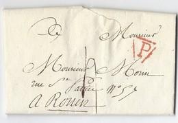 Lac De Paris Vers Rouen Du 14 Juillet 1806 Marque Postale P Rouge - 1801-1848: Precursors XIX