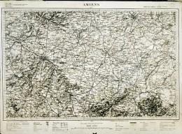 France Carte D'Etat-Major Région De Amiens Première Guerre Mondiale Ancienne Photo 1918 - Aviation