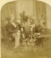 France Fantaisie Couple Au Salon Ancienne Photo Stereo 1870 - Stereoscopic